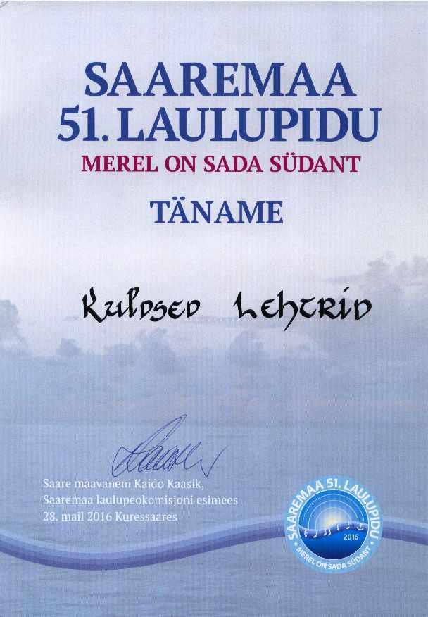 Saaremaa laulupidu, tänukiri
